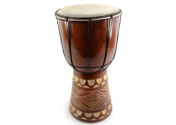 Барабан різьблений дерево з шкірою (30х15.5х15.5 см)