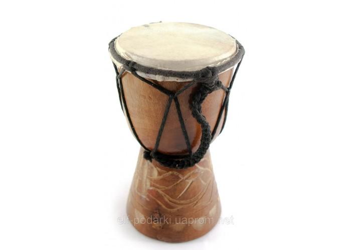Барабан різьблений дерево з шкірою (15х9,5х9,5 см) ЗП-30248