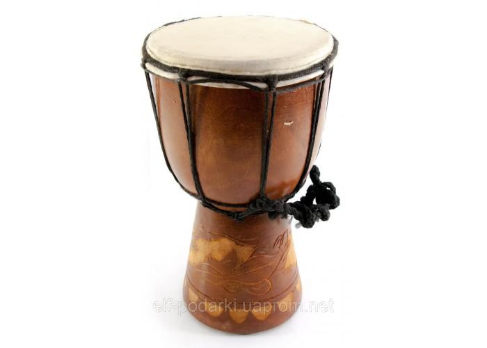 Барабан різьблений дерево з шкірою (20х11х11 см)