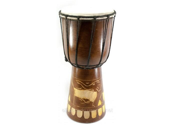 Барабан різьблений дерево з шкірою (40х19х19 см)
