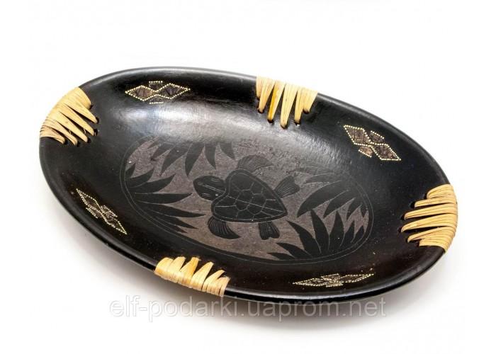 """Блюдо """"Черепаха"""" теракотове овальне (34х21,5х5 см) ЗП-29607"""
