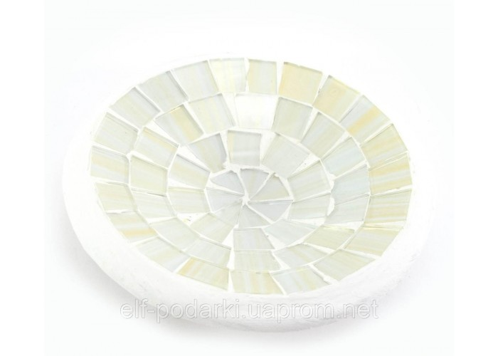 Блюдо теракотове з білою мозаїкою (11х11х3 см) ЗП-30266A