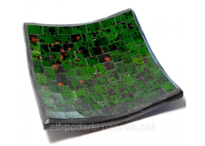 Блюдо теракотове з зеленої мозаїкою (14,5х14,5х2 см) ЗП-29418A