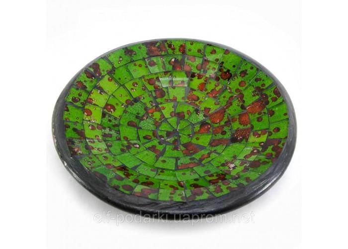 Блюдо теракотове з зеленої мозаїкою (d 15 h-3 см) ЗП-30262B