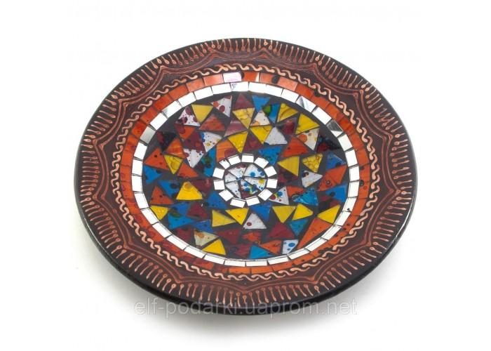 Блюдо теракотове з мозаїкою (d - 26 h-3 см) ЗП-30275