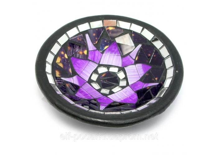 "Блюдо теракотове з мозаїкою ""Лотос"" (d - 14,5 h-3 см) ЗП-29458"