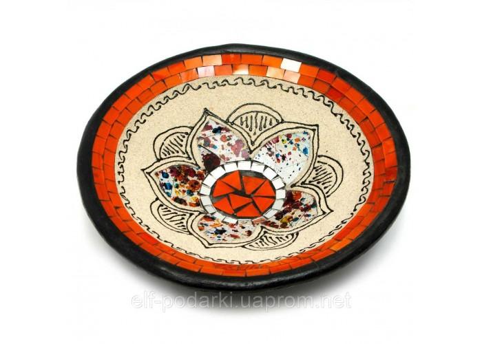 "Блюдо теракотове з мозаїкою ""Лотос"" (d - 25 h-5 см) ЗП-29459"