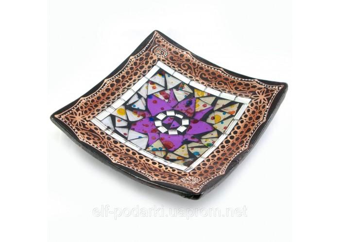 Блюдо теракотове з мозаїкою (15х15х3 см) ЗП-29456