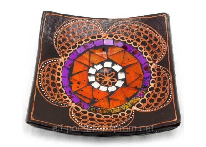 Блюдо теракотове з мозаїкою (15х15х3 см)