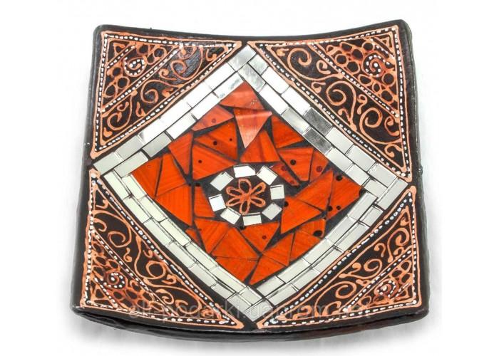 Блюдо теракотове з мозаїкою (15х15х3 см)A