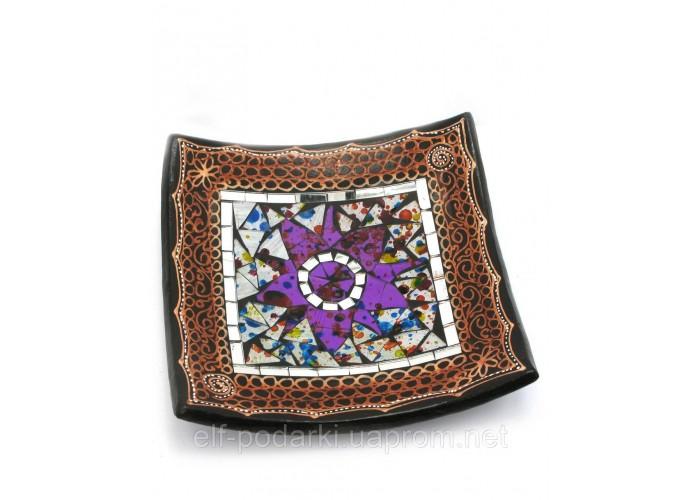 Блюдо теракотове з мозаїкою (19х19х4 см) ЗП-29684