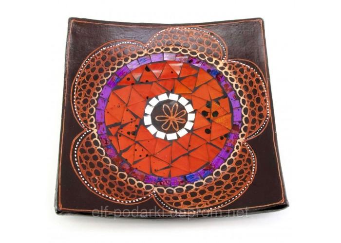 Блюдо теракотове з мозаїкою (19х19х4 см)B ЗП-29684B