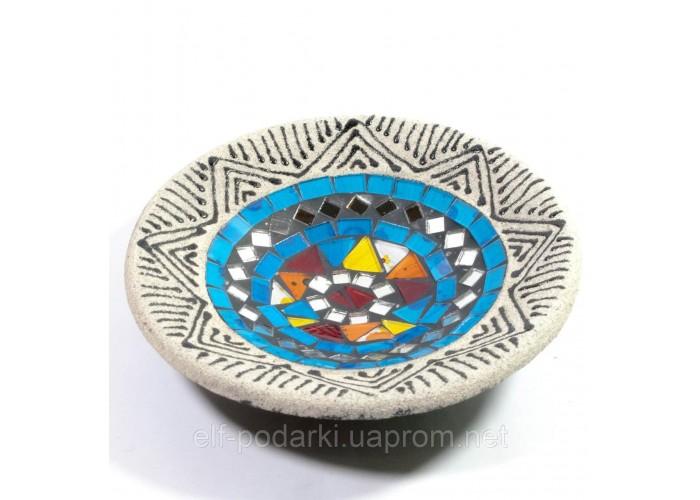 Блюдо теракотове з мозаїкою (d - 15,5 h-2,5 см) ЗП-29386