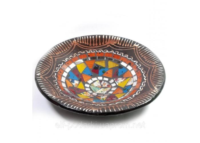 Блюдо теракотове з мозаїкою (d - 20 h-4 см) ЗП-29385