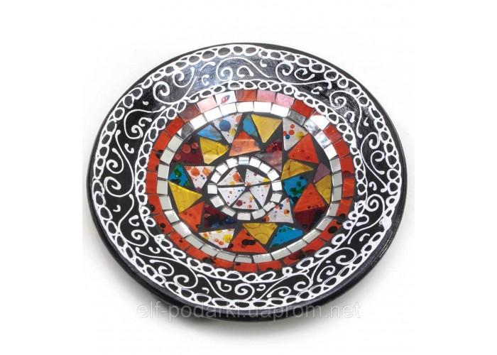 Блюдо теракотове з мозаїкою (d - 20 h-4 см) ЗП-29385A
