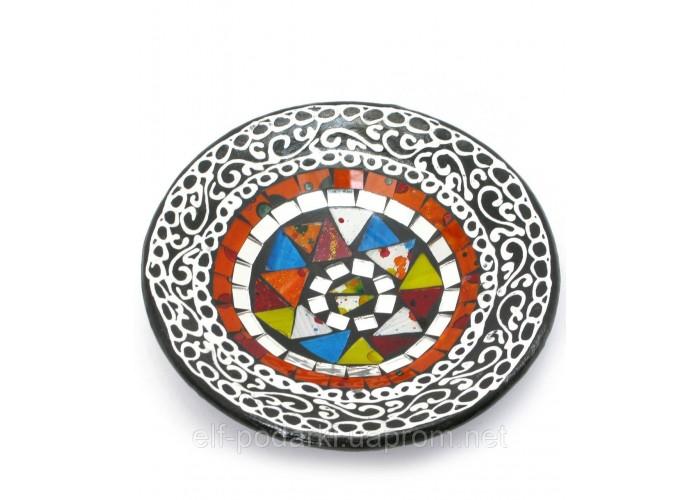 Блюдо теракотове з мозаїкою (d-14,5 см h-4,5 см) ЗП-29685