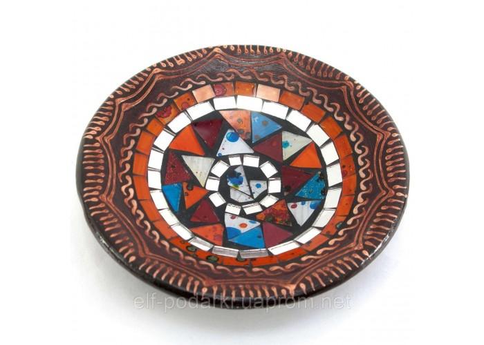 Блюдо теракотове з мозаїкою (d-14,5 см h-4,5 см)A