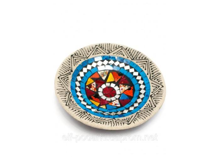 Блюдо теракотове з мозаїкою (d-19,5 h-3 см) ЗП-29457