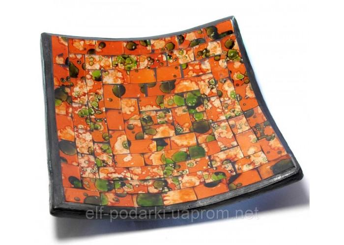 Блюдо теракотове з помаранчевої мозаїкою (14,5х14,5х2 см) ЗП-29418B