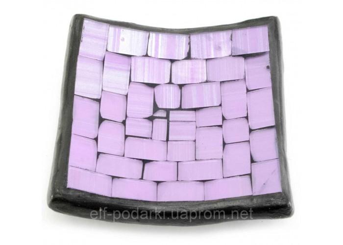 Блюдо теракотове з фіолетовою мозаїкою (10х10х2 см) ЗП-30272