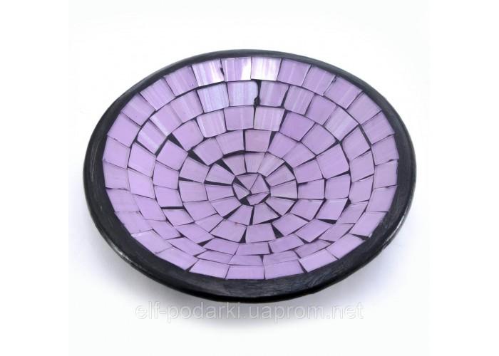 Блюдо теракотове з фіолетовою мозаїкою (11х11х3 см) ЗП-30266
