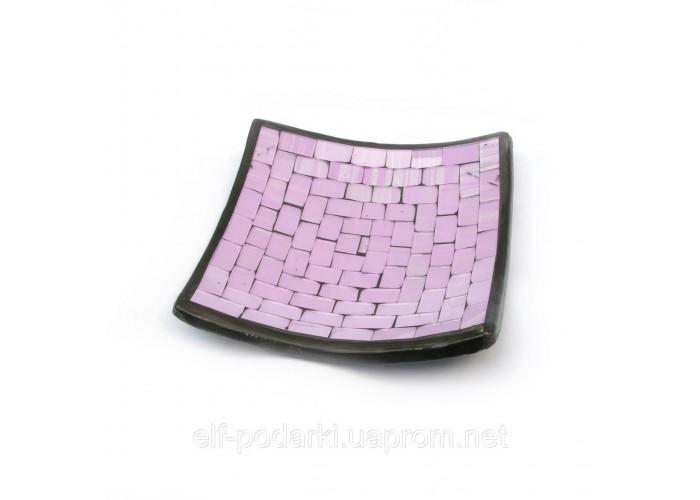 Блюдо теракотове з фіолетовою мозаїкою (14,5х14,5х2 см) ЗП-29418