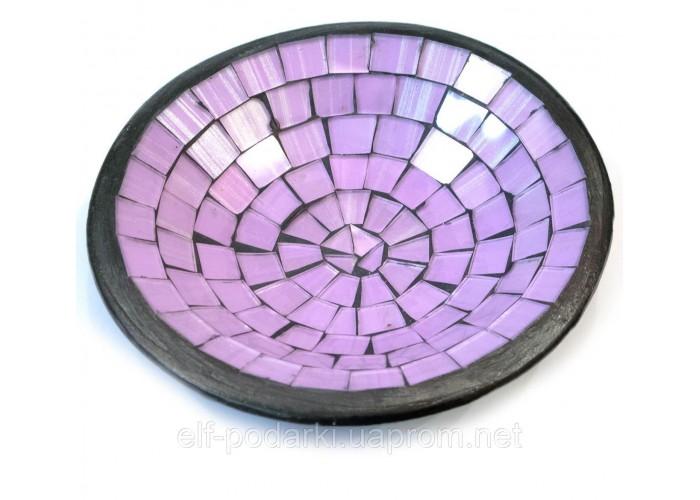 Блюдо теракотове з фіолетовою мозаїкою (d 15 h-3 см)