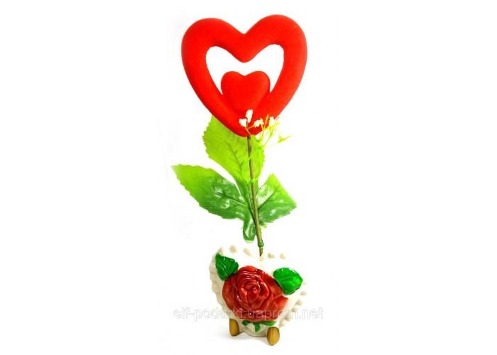 Ваза троянда керамічна з сердечком (22х9х5,5 см)
