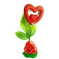 Ваза троянда керамічна з сердечком (22х9х5,5 см)B
