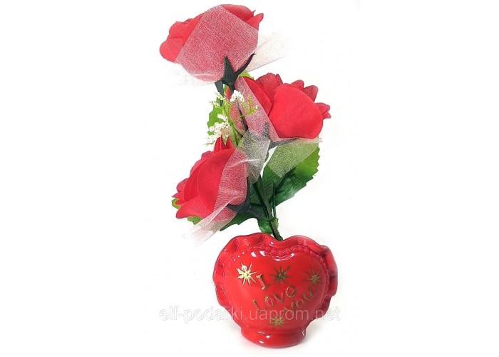 Ваза троянда керамічна з сердечком (22х9х5,5 см)C