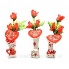 Ваза з трояндою і сердечком (21,5х6х5,5 см)