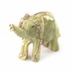 Фігурка Онікс - Слон з натурального каменю Онікс (Висота 4,5 см, Довжина 5,5 см)