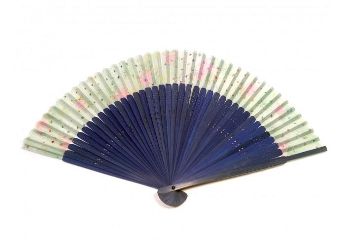 Віяло бамбуковий з шовком Синій (23см)(12шт/уп) ЗП-20719B