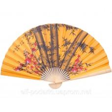"""Настінний віяло """"Бамбук з сакурою на помаранчевому тлі"""" шовк (90см) ЗП-30634"""