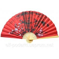 """Настінний віяло """"Сакура з бамбуком на червоному тлі"""" шовк (90см) ЗП-23181"""