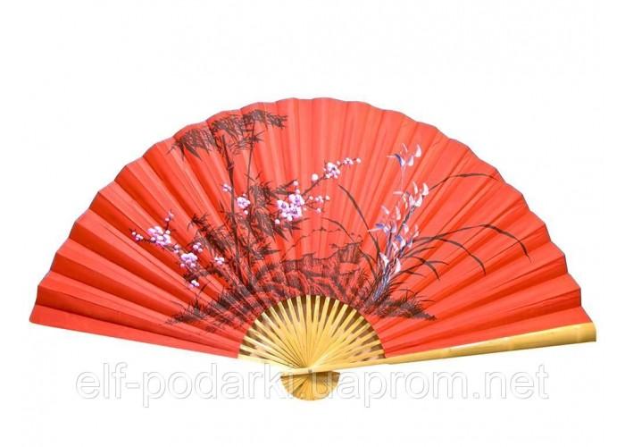 """Настінний віяло """"Сакура з бамбуком на червоному тлі"""" шовк (90см) ЗП-25115"""