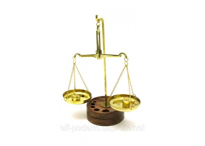 Ваги бронзові на дерев'яній підставці 20г 17х6,5х11см (1578)