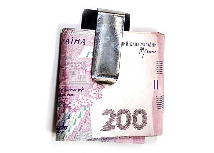 Затиск для грошей метал-шкіра 7,5х3,5х0,5см (32127)