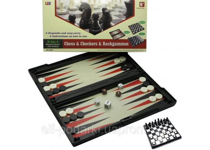 Ігровий набір магнітний 3в1 Шахи, шашки, нарди 32х32х2см (19312)
