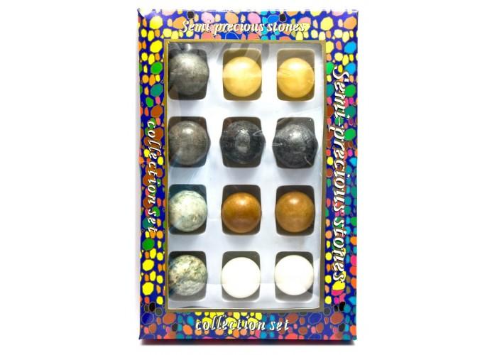 Кам'яні кулі набір (н-р/12шт)(d-3,5 см)(27х18х3,5 см)