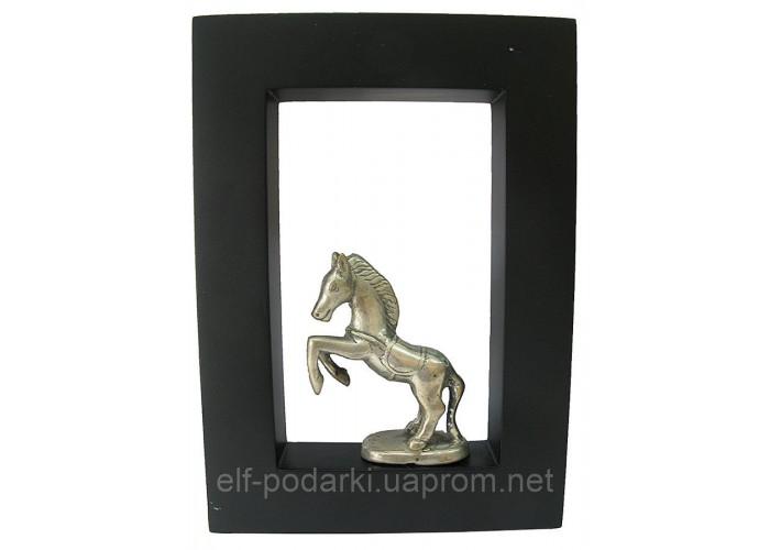 """Картина з бронзовою фігурою """"Кінь"""" (21x15) (Індонезія)"""