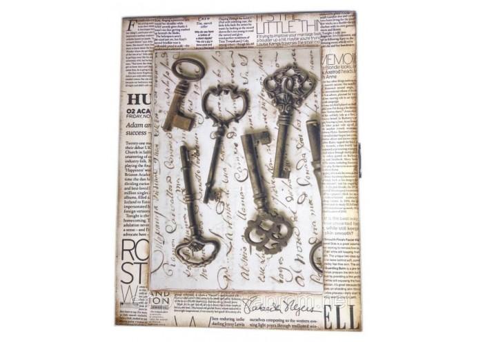 """Ключниця """"Ключі"""", газета ,масив дерева (25,5х19,5х5,5 див)."""