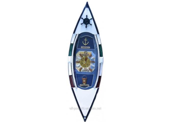 Ключниця Човен з годинником (49,5х15х10 см)