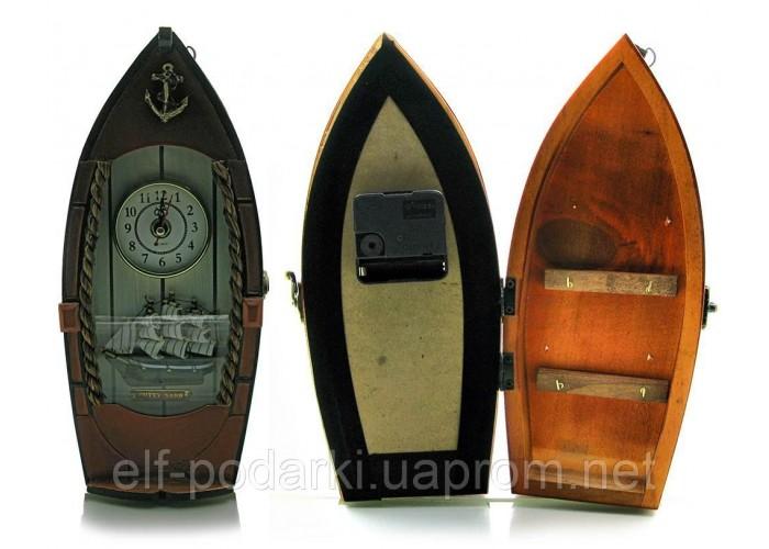 """Ключниця з годинником """"Човен"""" (29х14х8 см)"""