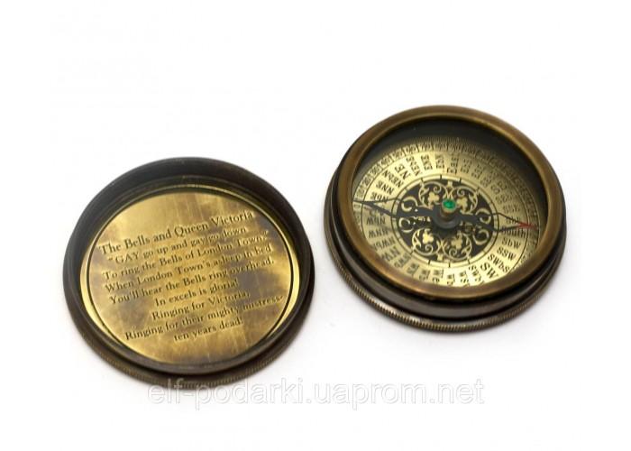 """Компас морський бронзовий """"Victorian pocket compas""""(d-6,h-2 см)"""