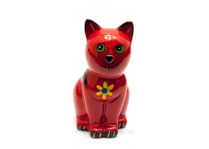 """Керамічна скарбничка """"Кіт"""" червона (16,5х10х7,5 см) ЗП-29520"""