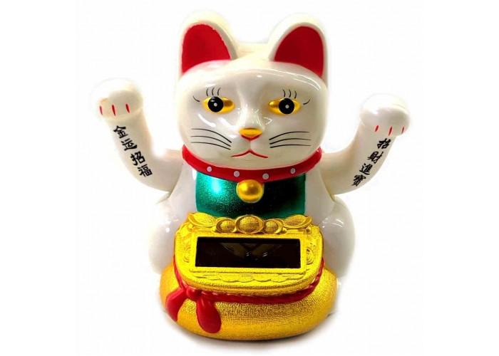 Кішка Манэки-неко махає двома лапами на сонячній батареї 10х10х7см (32925)