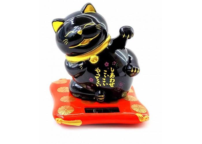 Кішка Манэки-неко на сонячній батареї махає лапою 8х7х7см пластик чорна (32938)