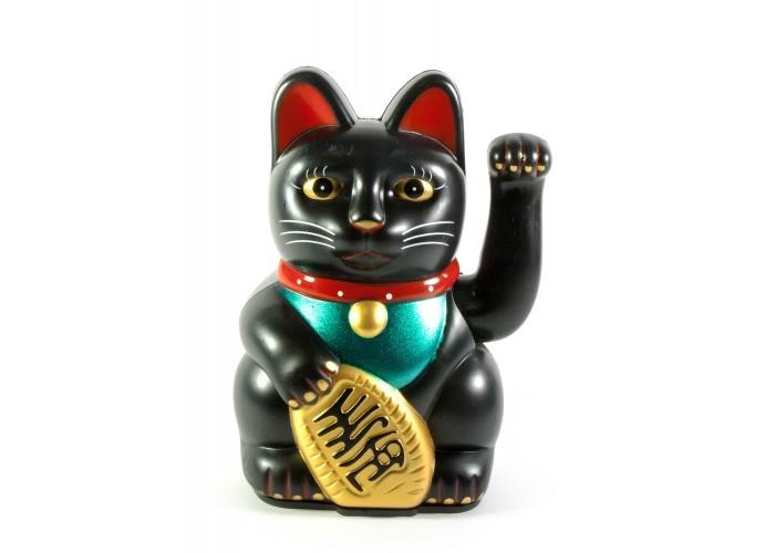 Кішка Манэки-неко махає лапою 12,5х8,5х6,5см пластик чорна (30873)