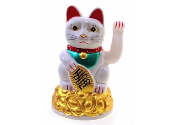 Кішка Манэки-неко махає лапою пластик (16х10,5х10,5см)(батарейки в комплект не входять) ЗП-30748